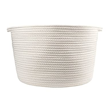 Orino Cotton Rope Storage Baskets with Handles, soft durable Laundry Baskets Nursery Hamper Organizer for kids' Toys Home Decor Blanket basket (15 x10 , Large, Off White)
