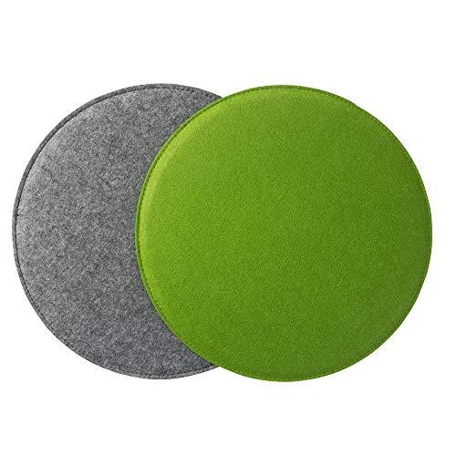 Gepolstertes Stuhlkissen 'ø34cm' zweifarbig, grün/grau (Farbe & Form wählbar) | Rundes Sitzkissen aus Filz (2er Set)