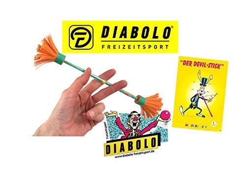 Diabolo Freizeitsport Bravo Mini Fingerstick Set in orange/grün inkl. Devilstick Jonglage Trickheft + Aufkleber l Anfänger Flowerstick für Fingertricks & Geschicklichkeit