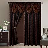 Better Home Leaves Modern Design Window Curtain Drapes All-in-One Set with Valance & Sheer Backing & Tassels for Living Room, Bedroom, Dining Room, and Sliding Doors # Alison (Chocolate)