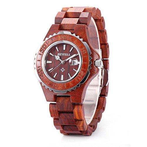 Reloj de las mujeres de zs-100bl hecho a mano de madera retro de cuarzo...
