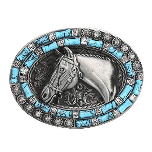 Baoblaze Hebilla Ovalada de Indio Rodeo Metal de Reemplazo para Cinturón de Hombres - 2