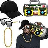 meekoo Conjunto de Disfraces de Hip Hop Cadera de Oro Gafas de Sol Sombrero Accesorios de Rapero 80s/ 90s (Gorra de Béisbol Negra, Boom Box)
