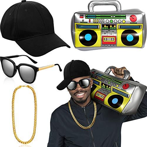 Hip Hop Kostüm Kit Hut Sonnenbrille Gold Kette 80s/ 90s Rapper Zubehör (Baseball Mütze, Boom Box)