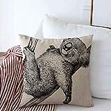 Throw Pillow Case Bear Negro Blanco Grabado Koala Dibujo Grabado Aguafuerte Antiguo Antiguo Australia Diseño Granja Cojín Cuadrado Fundas de Almohada para decoración del hogar