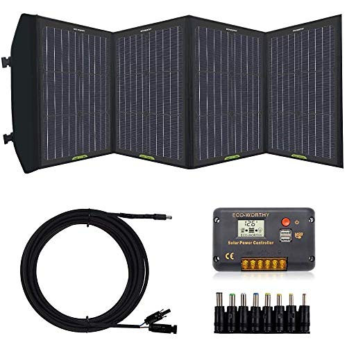 ECO-WORTHY 100 Watt Complete Foldable Solar Panel Kit with 20A Charger Controller for Portable Generator Power Station