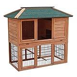 Wiltec Hasenstall Kaninchenstall Freilaufgehege im Untergeschoss Fichtenholz Teerdach Kleintierstall