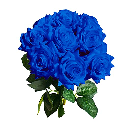 Mandy's Artificial Real-Touch 17' Blue Silk Roses Flowers for Home Decoration Bridal Wedding Bouquet and Parties