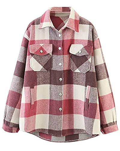 Preisvergleich Produktbild Damen Hemden Kariertes, Turnup Checked Shirt Flanellhemd Taschen Knöpfen Langarm Oversize Bluse Mantel Hemdjacke Holzfällerjacke Mode Boyfreind Jeansjacke Pink2-XXL
