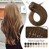 Rajout Cheveux Naturel Extension a Froid Micro Loop 100% Vrai Cheveux Humain Naturel Remy 100 Mèches 50g (#6 CHATAIN CLAIR, 16 Pouce/40CM)
