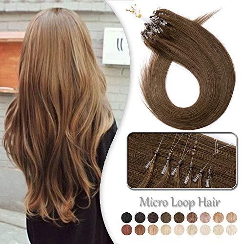 Extension Capelli Veri Microring 100 Ciocche #6 Castano - 100% Remy Human Hair con Anelli Lisci Naturali Umani Indiani Estensioni Loop Anellini 0.5grammi/Ciocca - 40cm 50g