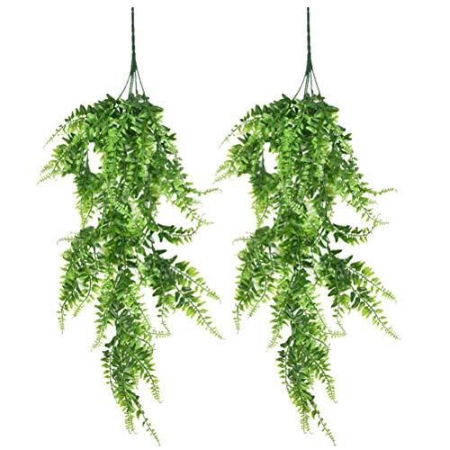 N\A 2 Stück 80cm Künstliche hängende Reben Vine Farne Pflanzen gefälschte Girlandenrebe Grüne Kletterpflanzen Kunstpflanzen für Innen Draußen Zuhause Büro Garten Wand Hochzeit Dekor