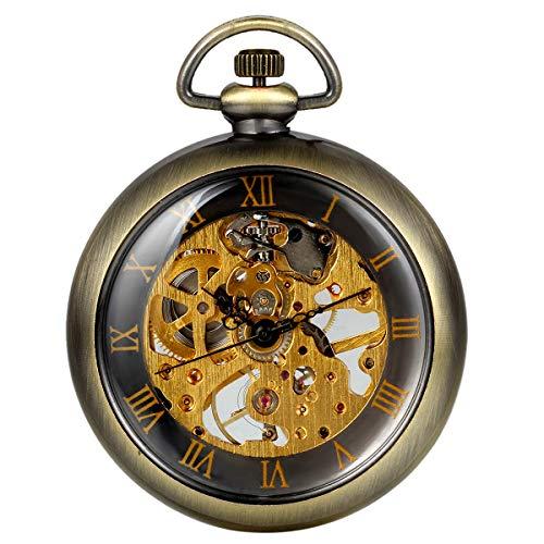 Reloj de Bolsillo Vintaje con Número Romano, Mecánico Steampunk, Esfera Esqueleto Viento de la Mano, Regalos Dia del Padre Originales