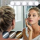 Lámpara de espejo portátil con 5 luces LED para espejo con USB, 3 modos de color, lámpara de maquillaje, lámpara de maquillaje para espejo cosmético, cuarto de baño, temperatura de color ajustable