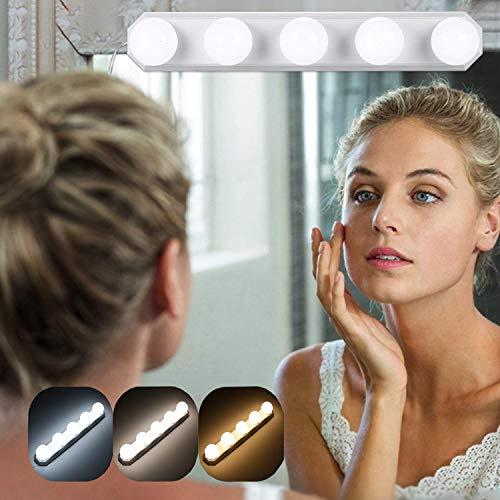 Kosmetikspiegel Tragbare Lampen, 5 LED Spiegelleuchte mit USB, 3 Farbmodus Schminklicht, Spiegellampe, Make-up Lampe für Kosmetikspiegel Badzimmer - Farbtemperatur einstellbar