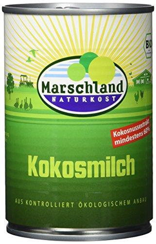 MARSCHLAND Bio-Kokosmilch, 60%, 6er Pack (6 x 400 g)