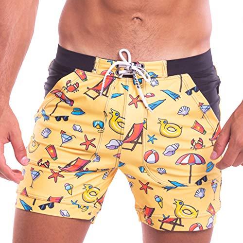 Taddlee Men Swimwear Swimsuits Flower Print Surf Board Boxer Shorts Trunks Long (L,S209)