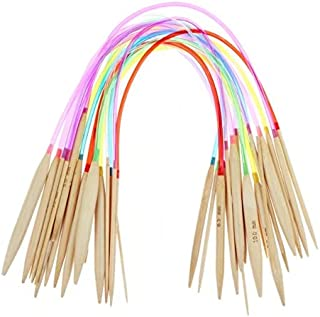 """Celine lin 18 Sizes 16 inch""""(40cm) Colorful Circular Bamboo Knitting Needles Crafts Knitting Tools(2mm-10mm)"""