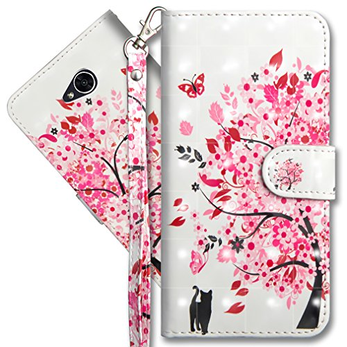 COTDINFORCA Compatible with LG Xpower 2 Wallet Case Premium PU Leather Case, 3D Creative Painted Effect Design Full-Body Protective Compatible with LG Fiesta 2 / LG X Power 2. PU- Tree Cat
