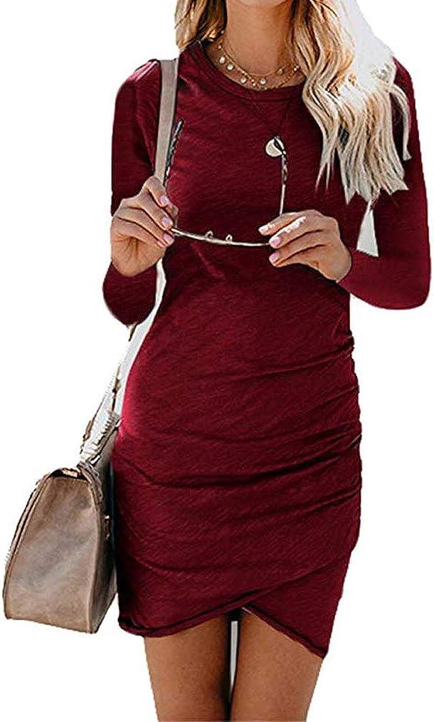 Qearal Women Ruched Bodycon Dress Casual Long Sleeve Mini T-Shirt Dress