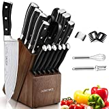 Knife Set, 21 Pieces Kitchen Knife Set with Block Wooden, Germany High Carbon Stainless Steel Professional Chef Knife Block Set, Ultra Sharp, Forged, Full-Tang (Black)