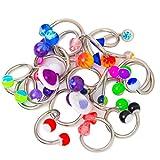 20 varios Twister anillo del vientre Mix -, borde de, boquilla, Auriculares de duplicados 14ga 316L-