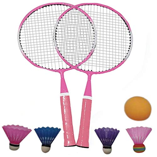 Badminton Rackets and Birdies Set for Kids - Portable Outdoor Badminton Racquet Combination Set Badminton System with 4 Shuttlecocks - Best for Family Lawn or Beach Training Games (Pink)