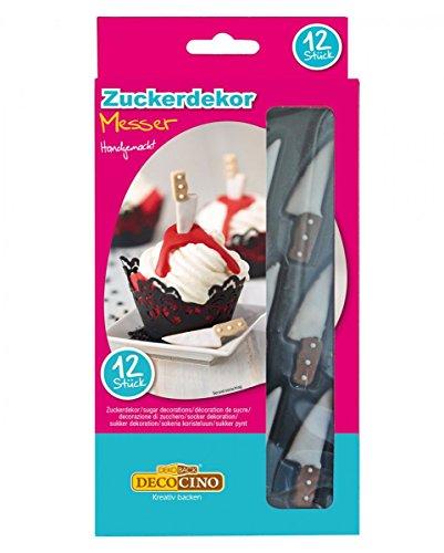 12 Essbare Horror-Messer aus Zucker zur Dekoration von Muffins & Torten