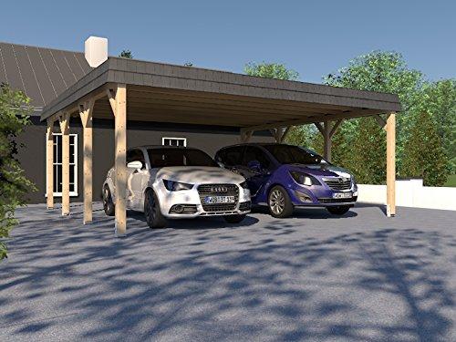 Carport Walmdach ASSEN VIII 600x600cm Konstruktionsvollholz KVH Fichte NEU