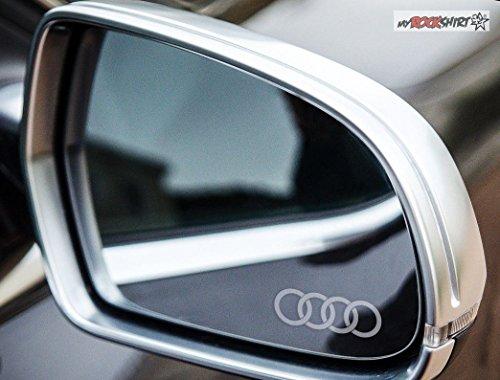 2 x A3 Ringe Logo silber für Außenspiegel Spiegel Scheibe Glas Milchglas Frost Frostfolie Effekt Frost Milch Gravur Aufkleber aus Hochleistungsfolie für alle glatten Flächen von myrockshirt®