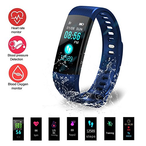 PUAK523cardiofrequenzimetro, Y5Colorful Screen Smart Wristband Fitness Tracker Watch Blood Pressure Monitor frequenza cardiaca contapassi Intelligente Band