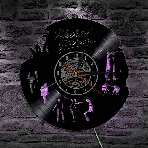 qweqweq Reloj de Pared Michael Jackson de diseño Moderno, Reloj Digital Iluminado con LED, Reloj de Bolsillo con Registro de Vinilo, decoración del hogar