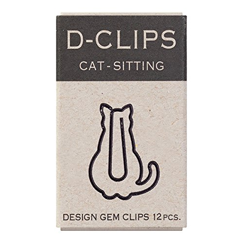 Midori Paper Clip, D-Clips Mini Box, Sitting Cat, 12 Pieces (43349006)