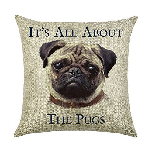 Acelive 16 x 16 Inches Letter It's All About The Pugs Pattern Cotton Linen Standard Size Throw Cushion Cover Pillow Case Sofa Bedroom Living Room Square