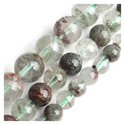 HETHYAN Cuentas redondas de cuarzo verde natural con cristales de clorito de piedra para hacer joyas, pulseras, collares de 6, 8, 10 mm, 15 pulgadas (diámetro del artículo: 10 mm)