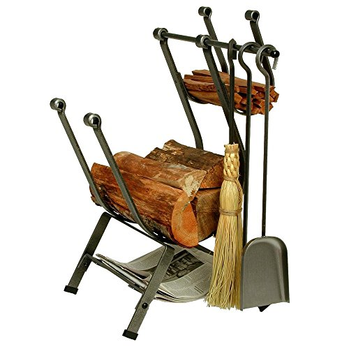 New Enclume Front Loading Log Rack with Fireplace Tools, Hammered Steel
