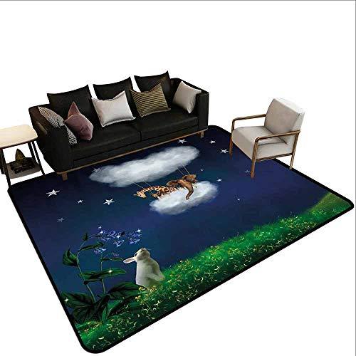 Conferentiekamer tapijt Fantasy, Legendarische Eenhoorn Vliegen over Wolken Nieuwheid en zuiverheid Icon Magic Creature Beeld, Wit Blauw