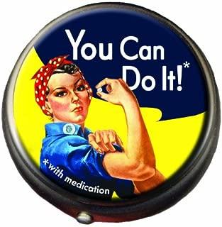 Rosie The Riveter Pill Box - Compact 1 or 2 Compartment Medicine Case