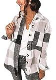 YMING Camisa a cuadros de manga larga para mujer, estilo urbano Negro XXXL