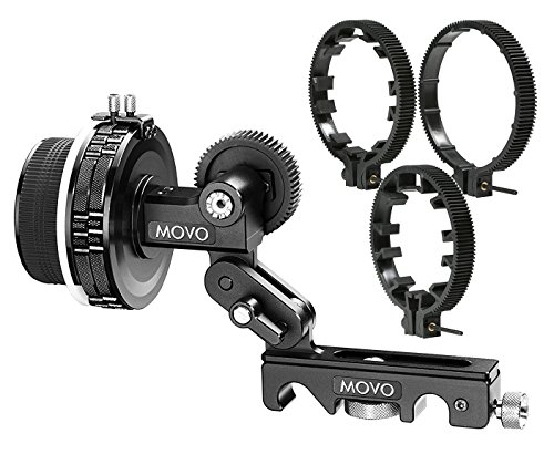 Movo F2X Precision Follow Focus System with Hard Stops and 65mm, 75mm, 85mm Adjustable Gear Rings