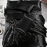 Bennyuesdfd juego de funda de edredón de seda satinada con funda de almohada, 3 piezas, negro, juego de sábanas para cama individual, 150 x 200 cm, negro, suelto