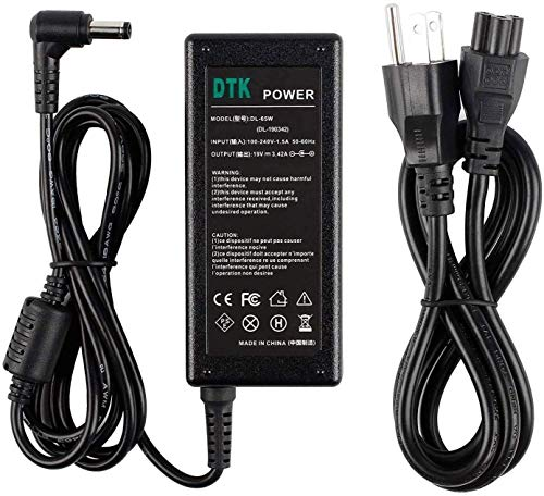 Dtk 19V 3.42A 65W Ac Adapter for Asus Toshiba Laptop Computer Charger Notebook PC Power Cord Supply Source Plug Connector: 5.5 x 2.5mm