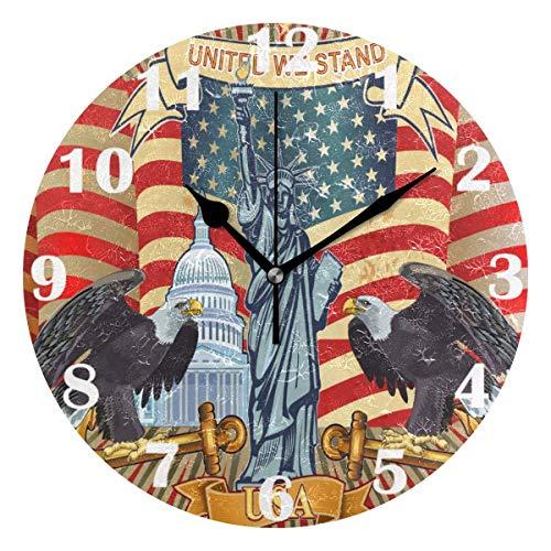 FETEAM American Eagle con Banderas de Estados Unidos Reloj de Pared Relojes silenciosos Reloj de Escritorio Vintage con Pilas 10 Pulgadas Cuarzo