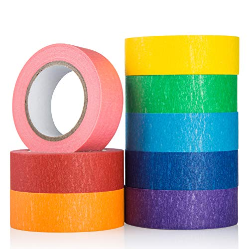 Coloured Masking Tape Set, 8 Pack Colored Painters Tape for Arts, Crafts, Paint, Modeling Refill, Labeling or Coding - Art Supplies for Kids � Coloured Duct Tape, 8 Roll, 20mm X 13m