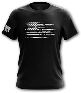 Distressed American Red Line Blue Line Flag Military Army Mens T-Shirt Made in USA