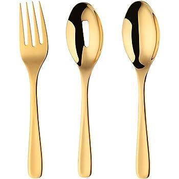 Gold Spoon Fork Set Bisda 2-Piece Stainless Steel 18 10 Serving Spoon Fork Set