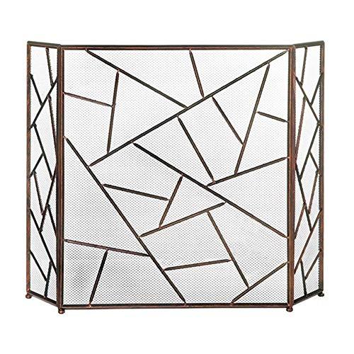 Faltbare Kaminplatte Aus Eisen, 3-teilige Kaminblende, Baby-Safe-Brandschutzplatten, für Offene Feuer/Gasfeuer/Holzofen