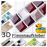Grandora 7 Adhesivos 25,3 x 3,7 cm Rojo Beige Plateado Etiqueta Adhesiva Design 2 I 3D Diversidad lámina para Azulejos y baldosas Cocina de baño Pegatina de Pared decoración de Azulejos W5288