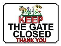 アルミメタルノベルティ危険サインインチ、ゲートを閉じたままにしてくださいありがとう、鉄の絵画錫サインカフェバーパブのヴィンテージ壁の装飾ホームビール装飾工芸品