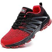 Azooken Herren Damen Sportschuhe Laufschuhe Turnschuhe Sneakers Leichte Fitness Mesh Air Sneaker Straßenlaufschuhe Outdoor(8995 Red46)